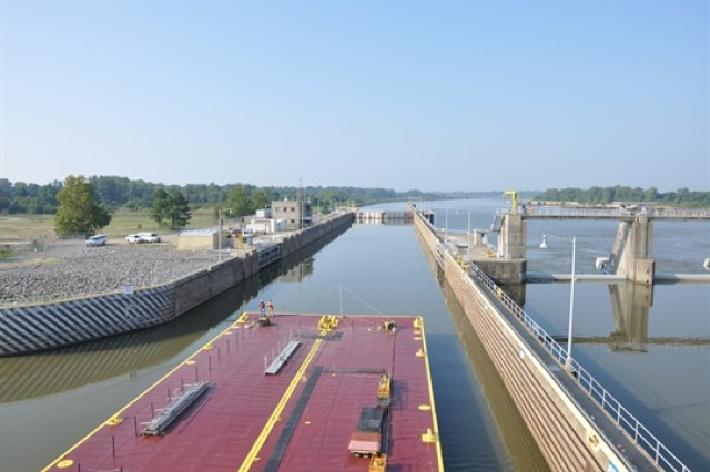 Navigation through McKlellan-Kerr Arkansas River Navigation System lock and dam.