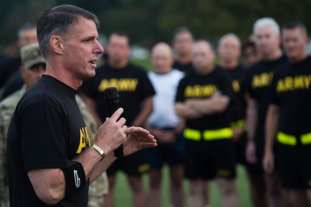 Maj. Gen. Malcolm Frost, commanding general, Center for Initial Military Training, speaks to TRADOC senior leaders before an exhibition of the new Army Combat Fitness Test Aug. 1, 2018 at Fort Eustis, Va.