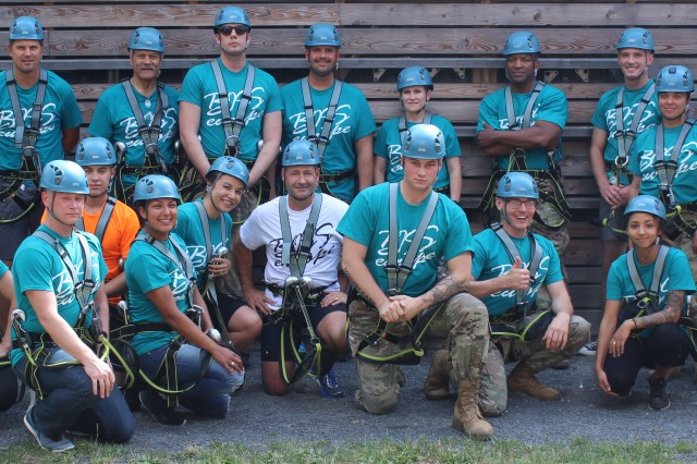 BOSS representatives in Europe participate in a high-ropes challenge course. The representatives attended the training in Grafenwöhr, Germany in late July 2018 to work together in developing stronger garrison programs.