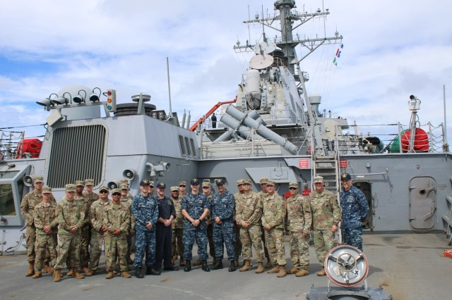 Sailors from the USS O'Kane Aegis gave a site tour to the Soldiers from Task Force Talon highlighting PACFLTs integrated BMD responsibilities within the PACOM region.