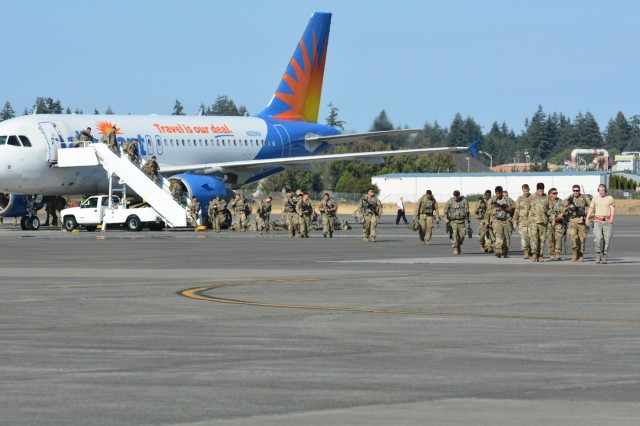 Soldiers from 1st Battalion, 5th Infantry Regiment, 1st Stryker Brigade Combat Team, 25th Infantry Division arrive at Joint Base Lewis-McChord to execute an Emergency Deployment Readiness Exercise (EDRE), known as Courage Ready 18-02. This routine series of exercises, tests and validates our ability to rapidly deploy and operate as an integrated, cohesive team of I Corps Soldiers, with assistance from the joint services, and our local and state partners. - at Joint Base Lewis-McChord.
