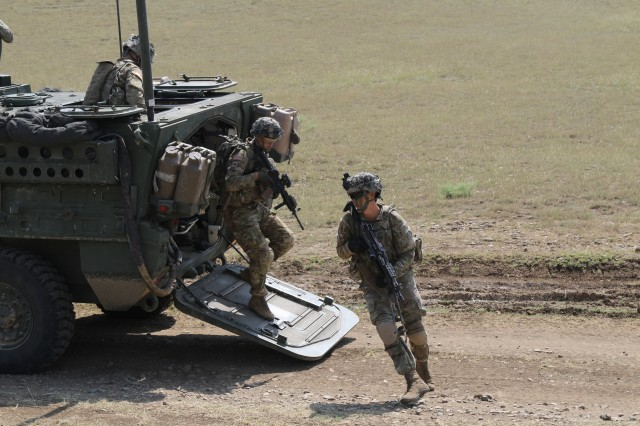 Infantrymen with 3rd Squadron, 2nd Cavalry Regiment dismount a M1126 Infantry Carrier Vehicle at Vaziani Training Area, Georgia, Aug. 3, 2018.