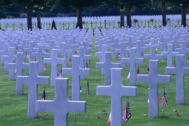 Gravestones of some of the 6,012 American buried at the Oise-Aisne American Cemetery in Seringes et Nesles, France.