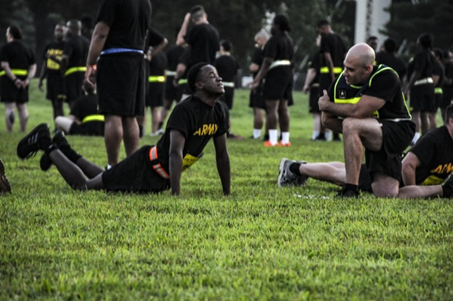 Soldiers complete the push-up component of the diagnostic Army Physical Fitness Test, kicking off the Fit for Life (F2L) program, Aug 5. F2L is an Army reserve pilot program designed to help Soldiers who are not eligible to re-enlist due to not meeting the Army height and weight program or physical fitness standards. The program not only assist Soldiers in improving their physical fitness, nutrition and resiliency, but also enhances Army Reserve readiness and retention.