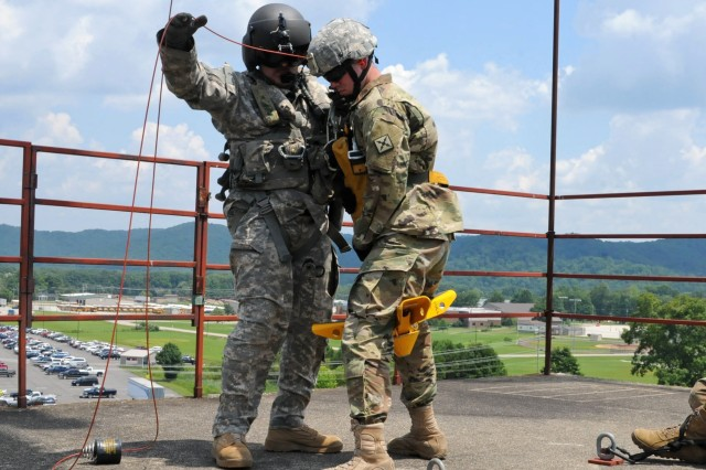 Soldiers with Detachment 1, Charlie Company, 2nd Battalion 238th Aviation Regiment prepare to be hoisted into a UH-60 Black Hawk during their medical air evacuation training near Morehead, Ky., July 26, 2018.