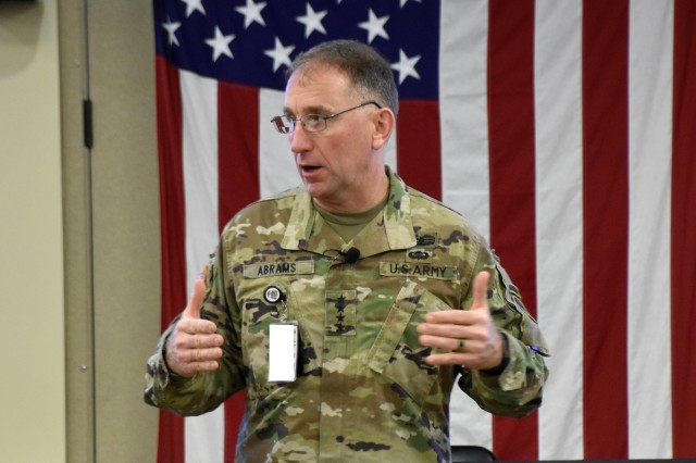 FORT BRAGG, N.C. (Aug. 7, 2018) -- Gen. Robert B. Abrams, commanding general of the U.S. Army Forces Command, speaks to attendees of the Senior Leader Orientation Conference at Fort Bragg, North Carolina, to synchronize understanding of FORSCOM's roles, priorities and key initiatives to assist Total Army units in building and sustaining readiness as well as training for the regular Army, Army National Guard and Army Reserve. (Photos by: John P. Boyce FORSCOM Deputy PAO)
