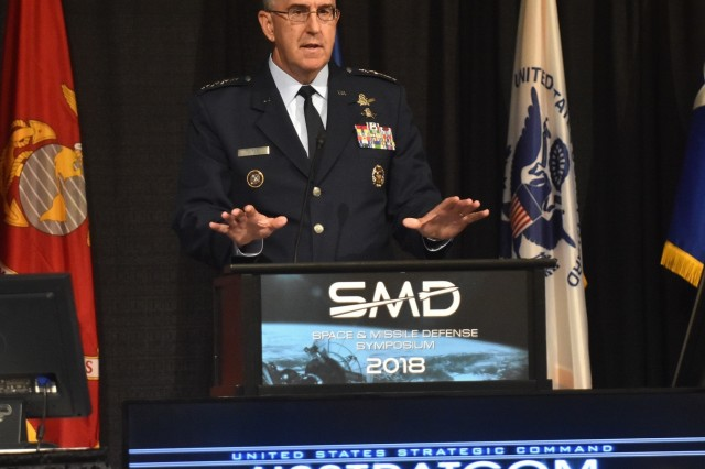 "Gen. John Hyten, commander of the U.S. Strategic Command, speaks to attendees of the 21st Space and Missile Defense Symposium on ""Space and Missile Defense Imperatives"" Aug. 7 at the Von Braun Center in Huntsville. (U.S. Army photo by Bryan Bacon)"