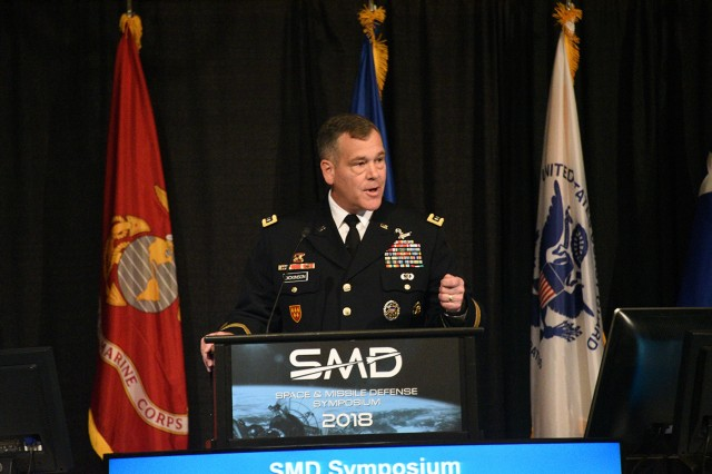 Lt. Gen. James H. Dickinson, U.S. Army Space and Missile Defense Command/Army Forces Strategic Command, commanding general, focuses on the command's workforce during the 21st annual Space and Missile Defense Symposium at the Von Braun Center in Huntsville, Alabama, Aug. 7, 2018.