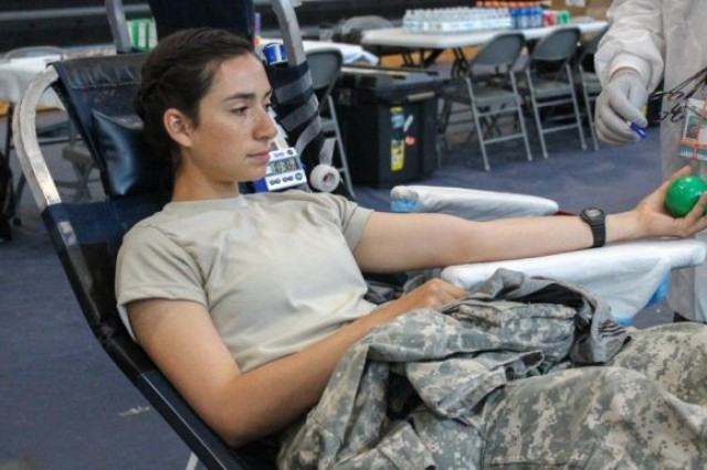 Cadet Anna Drapau, University of Idaho donates blood on August 6, 2018.