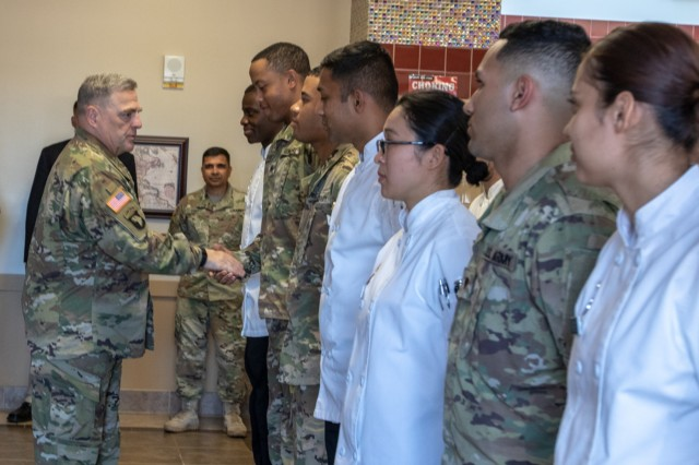 U.S. Army Chief of Staff, Gen. Mark A. Milley, visits the 16th Combat Aviation Brigade's Raptor's Nest Dining Facility, July 23, 2018, Joint Base Lewis-McChord, Wash. Raptor's Nest is the 2018 Philip A. Connelly winner. Soldiers of the 16th CAB DFAC received an excellence coin from Milley. (U.S. Army photo by Staff Sgt. Maricris C. McLane)