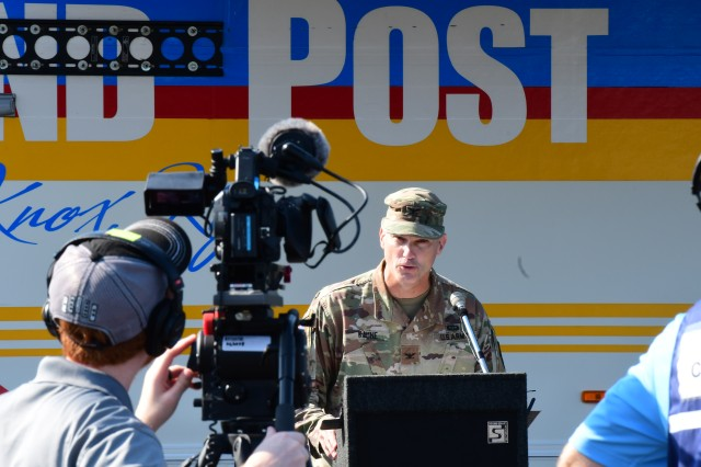 Col. Patrick Kaune, Fort Knox garrison commander, conducts a press conference Friday morning as a wrap-up to the exercise.