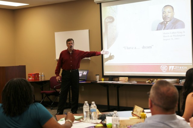 Navy Capt. Ronald R. Woods (Ret.) teaches the Art of Communication class to AMRDEC employees July 24-26.