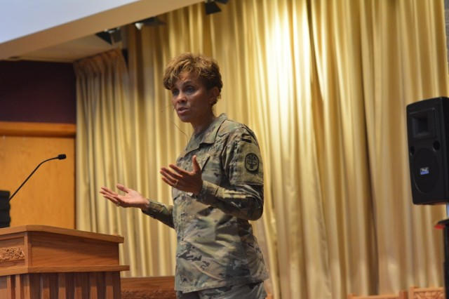Lt. Gen. Nadja West, Army Surgeon General, speaks with an audience of staff members and Army Medicine employees to discuss priorities of Army Medicine during a town hall meeting at the Main Post Chapel Aug. 3.
