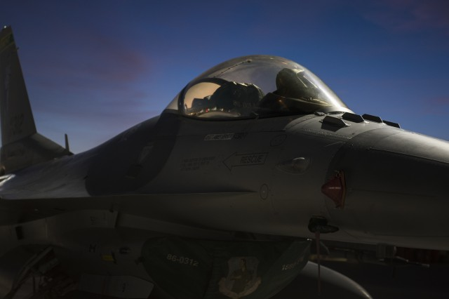 An F-16 Fighting Falcon fighter jet, assigned to the 134th Fighter Squadron, Vermont Air National Guard, prepares for Red Flag 18-1 at Nellis Air Force Base, Nevada, Jan. 30, 2018. Next spring, the Army and Air Force Rapid Capabilities Offices will collaborate on a sensor-to-shooter operational assessment to show how air, ground and space sensors can be used to cue long range precision fires in complex operational environments.