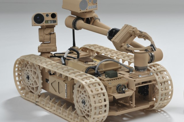 Researchers, including Army scientists, are exploring new techniques using the Advanced Explosive Ordnance Disposal Robotic System Increment 1 Platform.