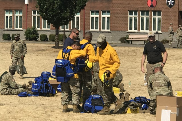 Soldiers from the 2nd Stryker Brigade Combat Team, check out their newly issued firefighting protective equipment for the fire suppression mission supporting the National Interagency Fire Center in suppressing the wildfires in the Western United States, Aug. 9, 2018 at Joint Base Lewis-McChord. (U.S. Army photo by Lt. Col. Roger Cabiness II, 7th Infantry Division)