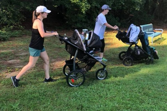 Spouses from the 5th Squadron, 73rd Cavalry Regiment, 3rd Brigade Combat Team, 82nd Airborne Division run during the inaugural Airborne Thunder at Pope Army Airfield's Woodland Park on Aug. 8, 2018. The Squadron's Family Readiness Group intends to host the event on a regular basis to connect spouses and build bonds within the organization.