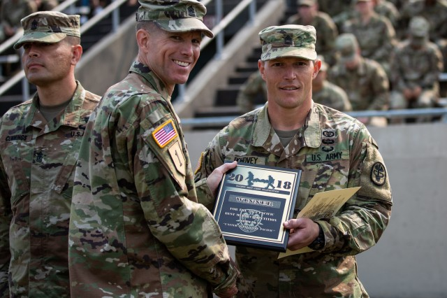 Regional Health Command-Pacific Command Sgt. Maj. Clark Charpentier presents Sgt. 1st Class Adam Pohovey, Madigan Army Medical Center, with a plaque during the Aug. 10, 2018 Pacific Best Medic Competition awards ceremony at Joint Base Lewis-McChord, Wash.