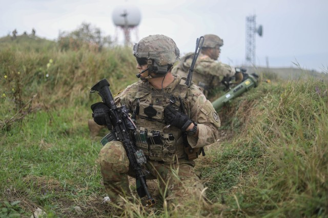 Staff. Sgt. Phillip Cox, squad leader, Iron Troop, 3rd Squadron, 2nd Cavalry Regiment, received heavy fire during infiltration onto the objective resulting in the loss of his fire team during a troop air assault exercise in Norio, Georgia, Aug. 9, 2018.