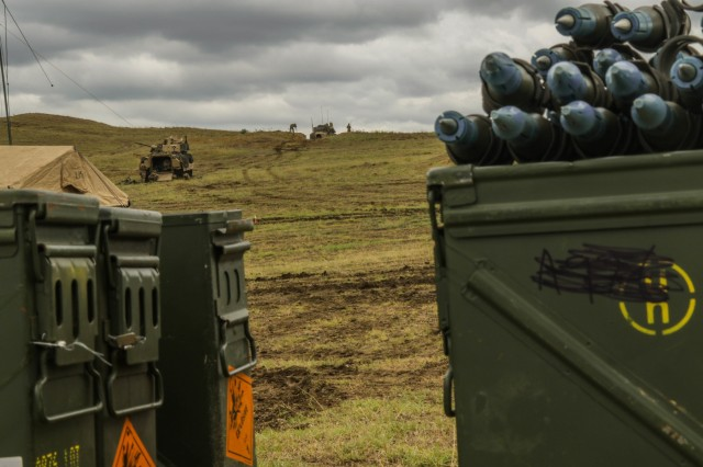 Soldiers with 2nd Battalion, 5th Cavalry Regiment prepare for a combined arms live fire exercise at Vaziani Training Area, Georgia, Aug. 12, 2018. 2-5 CAV participated in Noble Partner 18, a cooperatively-led exercise intended to support and enhance the readiness and interoperability of Georgia and other participating nations. (U.S. Army photo by Sgt. Kris Bonet)