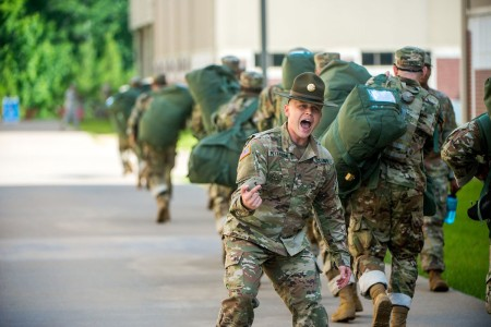 Initial Entry Trainees arrive at Fort Benning, Ga., July 13, 2018, for the first day of the 22-week One Station Unit Training extension pilot program. The new OSUT program will include expanded weapons training, increased vehicle-platform familiarization, extensive combatives training, a 40-hour combat-lifesaver certification course, increased time in the field during both day and night operations, and increased emphasis on drill and ceremony maneuvers.