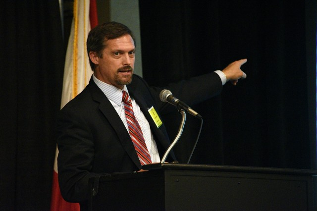 Rob Goldsmith, U.S. Army Space and Missile Defense Command/Army Forces Strategic Command cyber integration director, discusses cyber resiliency and mission assurance at the 21st annual Space and Missile Defense Symposium at the Von Braun Center, Huntsville, Alabama, Aug. 7
