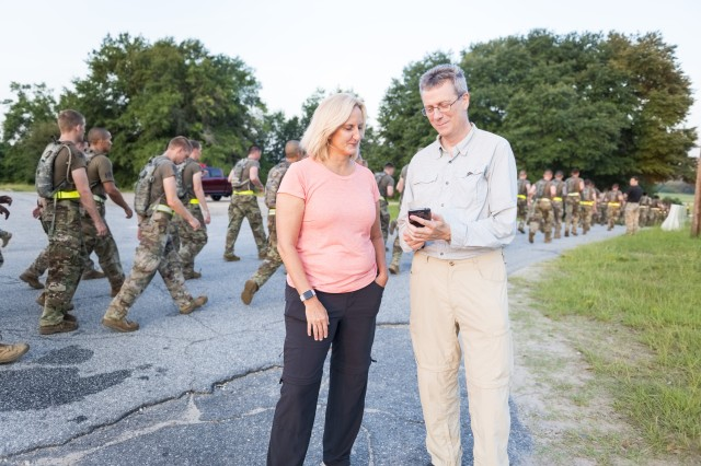 In an effort to see if real-time modeling can be used to monitor Soldiers' physiological statuses and help prevent heat illness, Dr. Mark Buller, right, and Dr. Beth Beidleman, two principal investigators from the U.S. Army Research Institute of Environmental Medicine, have partnered with the Fort Benning Martin Army Community Hospital, or BMACH, to strap wearable sensors on hundreds of Soldiers from the 75th Ranger Regiment completing the Ranger Assessment and Selection Program, or RASP.