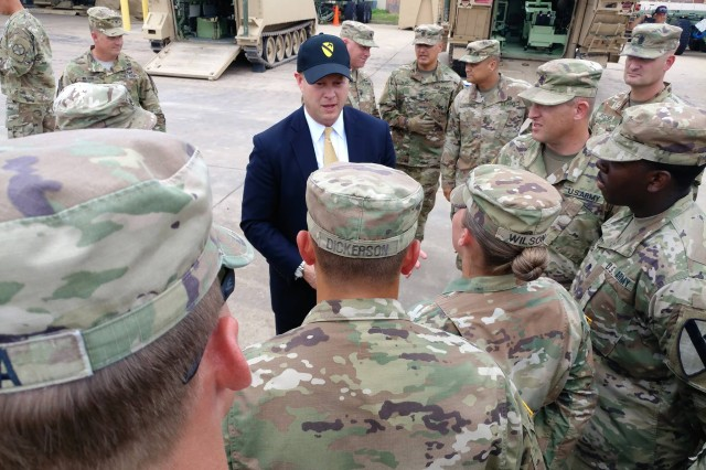 Under Secretary of the Army Ryan D. McCarthy speaks with 1st Cavalry Division Soldiers during his visit to Fort Hood, Aug. 14, 2018.