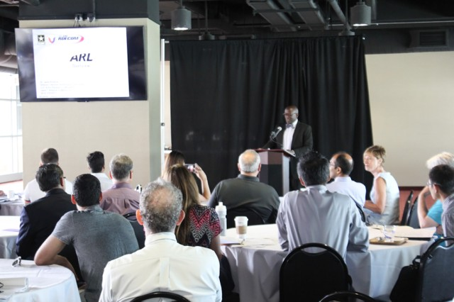 Dr. Jaret Riddick, director of the U.S. Army Research Laboratory's Vehicle Technology Directorate, welcomes the audience at the ARL and Uber Elevate kickoff event held Aug. 9 in Austin, Texas.