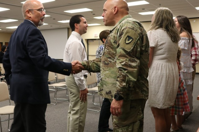 U.S. Army Chemical Materials Activity (CMA) Commander Col. Kelso Horne gets to know members of the CMA workforce following a change of command ceremony August 2, 2018 at Aberdeen Proving Ground in Edgewood, Md. Horne is CMA's third military director.