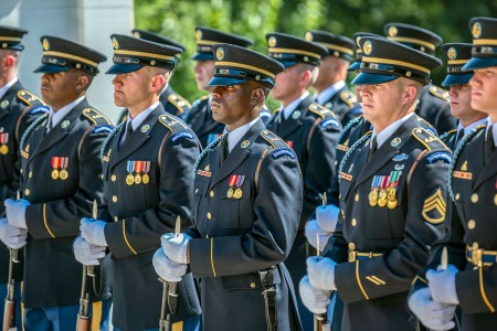 Soldiers from the U.S. Army Honor Guard support an Army Full Honors Wreath-Laying at the Tomb of the Unknown Soldier hosted by Gen. Koji Yamazaki, chief of staff, Japan Ground Self-Defense Force; at Arlington National Cemetery, Arlington, Va., July 10, 2018. Yamazaki toured the Memorial Amphitheater Display Room and met with senior leadership from Arlington National Cemetery as part of his visit.