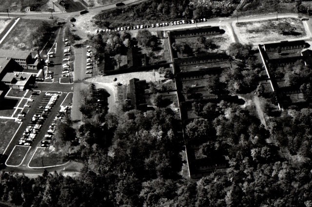 An aerial photo of the northeast corner of Tobyhanna Army Depot in 1958 features buildings constructed during World War II.