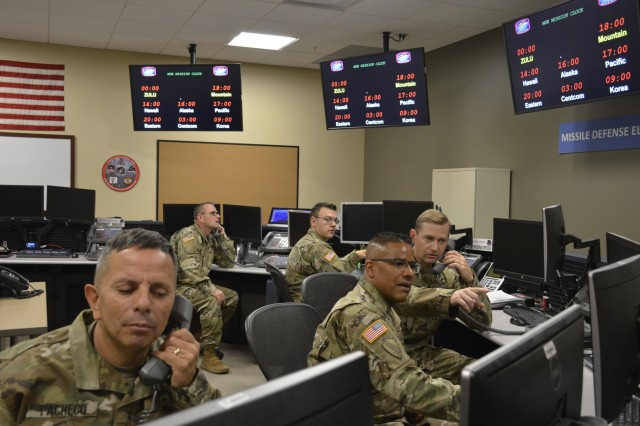 100th Missile Defense Brigade Soldiers operate in the Misssile Defense Element at Schriever Air Force Base, Colorado.