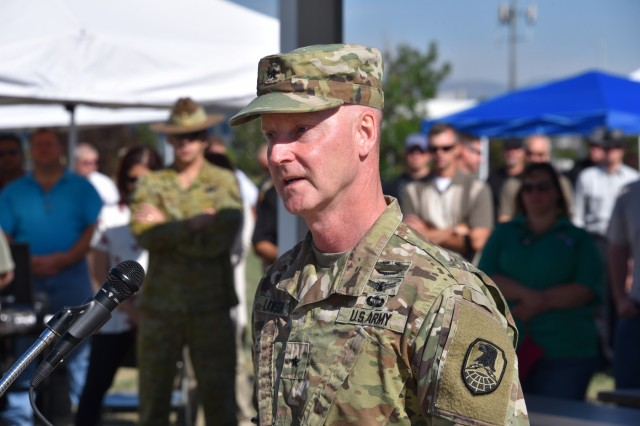 Brig. Gen. Tim Lawson, deputy commanding general for operations, U.S. Army Space and Missile Defense Command/Army Forces Strategic Command, addresses command employees during a safety event.