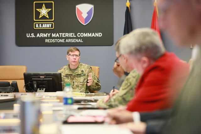 Army Cyber Command's Commanding General Lt. Gen. Stephen G. Fogarty discusses the complexities of the DOD information network to Army Materiel Command's senior leaders and staff. (U.S. Army photo by Sgt. Eben Boothby)