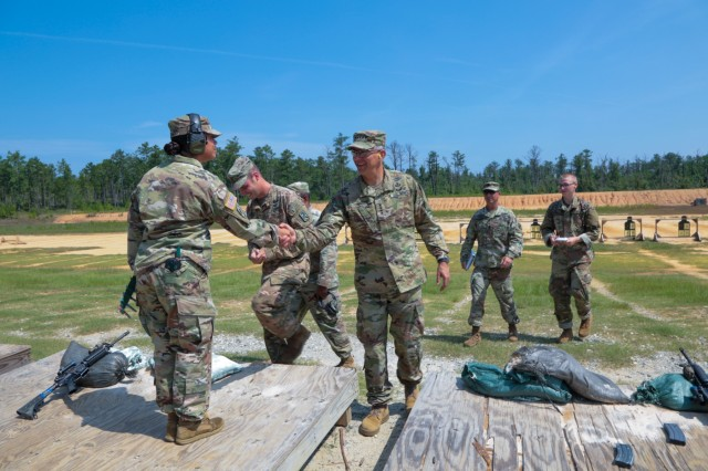 FORT BENNING, Ga. (Aug. 17, 2018) - Gen. Stephen J. Townsend, commanding general of U.S. Army Training and Doctrine Command, toured the Maneuver Center of Excellence and Fort Benning, Georgia, led by the MCoE and Fort Benning commanding general, Maj. Gen. Gary M. Brito, Aug. 15. The group observed squad situational training exercise lanes with E Company, 3rd Battalion (Officer Candidate School), 11th Infantry Regiment, and Townsend provided guidance to the cadets. (U.S. Army photo by Markeith Horace, Maneuver Center of Excellence, Fort Benning Public Affairs)
