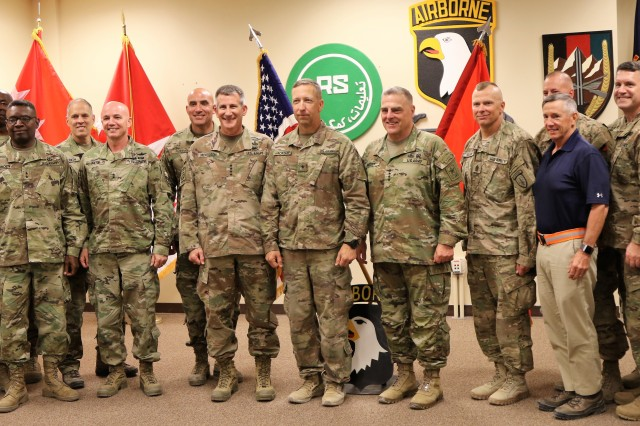 Brig. Gen. Scott A. Jackson, center, poses with general officers and command sergeants major following his promotion ceremony in the United States Forces -- Afghanistan headquarters on Bagram Airbase, Afghanistan, August 14. Jackson was promoted to brig. gen. by U.S. Army Chief of Staff, Gen. Mark A. Milley. (U.S. Army photo by Maj. Matt Fontaine)