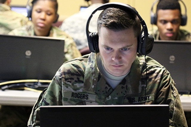 1st Lt. John R. Rogers, 642nd Regional Support Group, takes part in virtual convoy training on Feb. 24, 2018, at his unit's headquarters in Decatur, Ga.