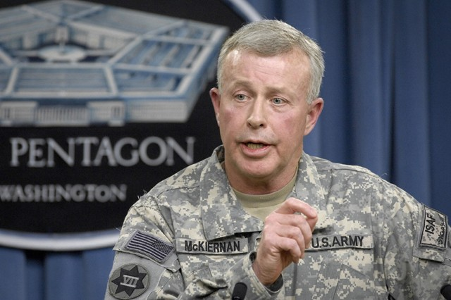 Gen. David McKiernan, then commander of the International Security Assistance Force and U.S. Forces-Afghanistan, delivers a briefing to the Pentagon press corps on Feb. 18, 2009.