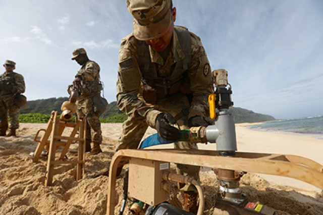 Soldiers from the 209th Aviation Support Battalion, 25th Combat Aviation Brigade, assemble a water pump while training on the tactical water purification system on Feb. 27, 2018, near Dillingham Airfield, Hawaii.