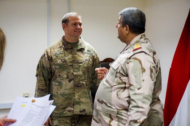"Maj. Brian Hatalla, 3rd Cavalry Regiment ""Brave Rifles"" chief of intelligence, and M2 meet prior to initiating an intelligence workshop between Iraqi and coalition partners supporting Operation Inherent Resolve, Aug. 13, 2018, to discuss best practices and training opportunities that can enhance Iraqi operations centers in the fight against ISIS. Brave Rifles troopers are deployed to Iraq in support of Combined Joint Task Force - Operation Inherent Resolve, working by, with and through the Iraqi Security Forces and coalition partners to defeat ISIS in Iraq and Syria."