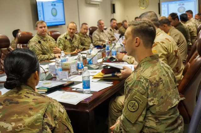 Intelligence officers from Iraq, the U.S., U.K., Denmark, Singapore and Spain meet for an intelligence workshop between Iraqi and coalition partners supporting Operation Inherent Resolve, Aug. 13, 2018, to discuss best practices and training opportunities that can enhance Iraqi operations centers in the fight against ISIS. Brave Rifles troopers helped coordinate the workshop and are deployed to Iraq in support of Combined Joint Task Force - Operation Inherent Resolve, working by, with and through the Iraqi Security Forces and coalition partners to defeat ISIS in Iraq and Syria.