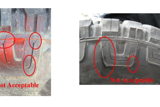Examples of defects found in Humvee tires during safety inspection of vehicles in Kentucky.