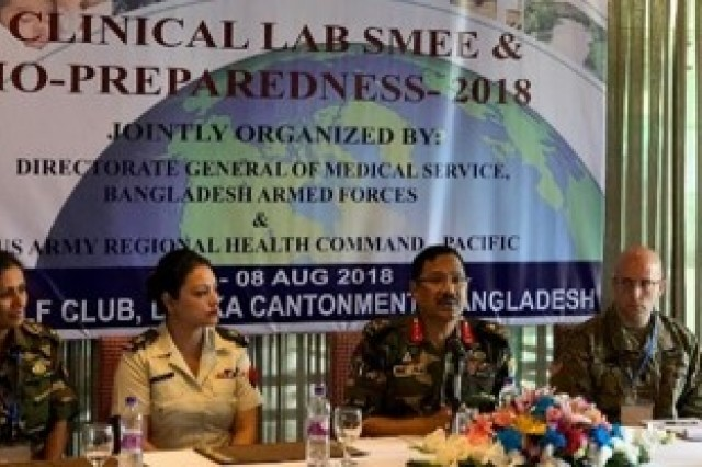 During Regional Health Command-Pacific's Aug. 5-8 Clinical Laboratory and Biopreparedness Subject Matter Expert Exchange (SMEE), three presenters, along with the moderator, discuss a variety of medical-specific topics ranging from pre-and-post deployment medical screenings to waterborne diseases to bioterrorism.