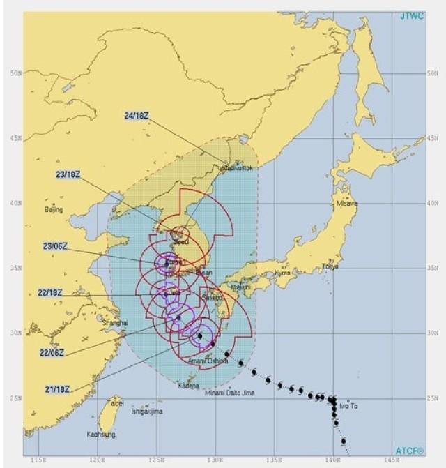 Track of Tropical Storm Soulik 21 Aug