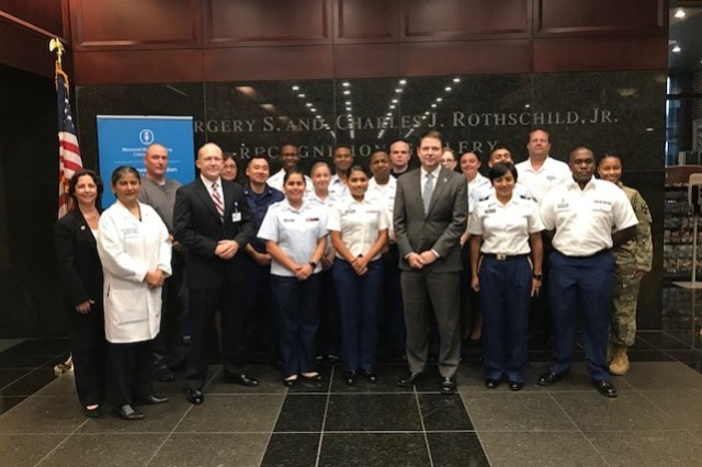 Service members and Hackensack University Hospital staff pose for a photo during Strategic Medical Asset Readiness Training (SMART), Aug. 16, 2018. The SMART partnership in Hackensack, N.J., is a first-of-its-kind partnership which focuses on high-quality, individualized specialty medical training for service members to improve their knowledge, skillsets and increase soldier readiness. (U.S. Army photo courtesy Brig. Gen. Carl Reese)
