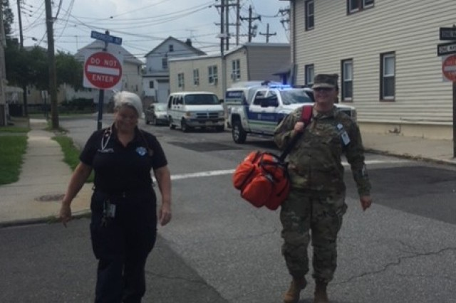 A solider and Hackensack University Hospital employee respond to an emergency call in Hackensack, N.J., Aug. 16, 2018. The soldier is one of 15 service members participating in the Strategic Medical Asset Readiness Training program at Hackensack University Hospital. This program is a first-of-its-kind partnership which focuses on high-quality, individualized specialty medical training for service members to improve their knowledge, skillsets and increase soldier readiness. (U.S. Army photo courtesy Brig. Gen. Carl Reese)