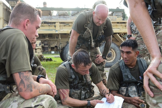 Paratroopers assigned to the 1st Battalion, 508th Parachute Infantry Regiment, 3rd Brigade Combat Team, 82nd Airborne Division complete a written test evaluating their historical and tactical knowledge during the brigade's Best Squad Competition conducted August 21 on Fort Bragg.
