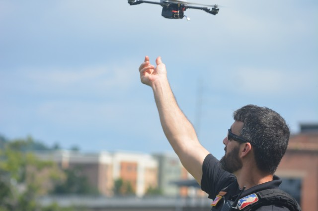 COLUMBUS, Ga. (Aug. 23, 2018) - Local civilian emergency personnel use drones to locate survivors of a notional flood. Military and civilian personnel from Latin America as part of a Western Hemisphere Institute for Security Cooperation course worked closely with local emergency services from Fort Benning and Columbus, Georgia, and Phenix City, Alabama, to rescue survivors of a notional flood, who were stranded on the islands of the Chattahoochee River in Columbus Aug. 10. (U.S. Army photo by Bryan Gatchell, Maneuver Center of Excellence, Fort Benning Public Affairs)