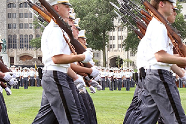 The U.S. Military Academy Corps of Cadets takes part in the review portion of the Acceptance Day Parade Aug. 18, 2018. The members of the Class of 2022 officially joined the Corps of Cadets during Saturday's Parade.  (U.S. Army photo by Brandon O'Connor)